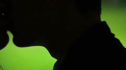 Sexy kiss in silhouette on a green background