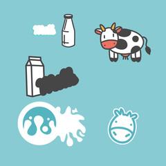Cow milk vector icons