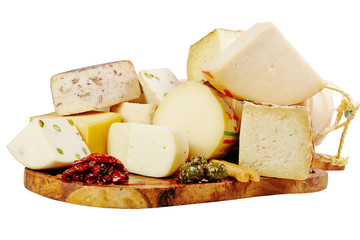 Board with cheese on wooden slate and white background