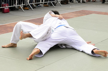two judokas fighters fighting men