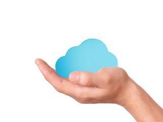 hand hold cloud computing symbol