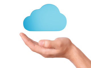 hand hold cloud computing symbol