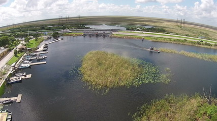 Aerial view of Florida Everglades boat ramp