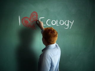 I love Ecology. Schoolboy writing on a chalkboard.