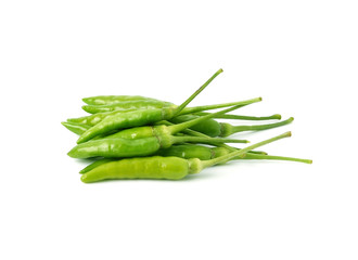 green hot chilli peppers isolated on white