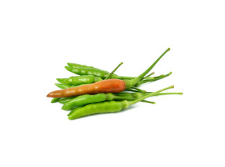 red and green hot chilli peppers isolated on white