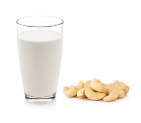 milk with cashew nut on white background