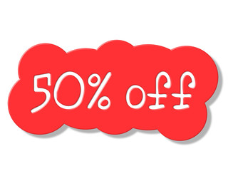 Fifty Percent Off Shows Discount Savings And Discounts