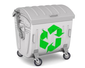 Закрытый мусорный контейнер с международным символом переработки