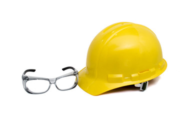 Safety helmet and eye glasses on white with clipping path