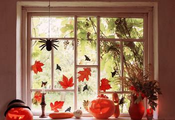 halloween decoration on window