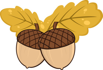 Two Acorn With Oak Leaves Cartoon Illustrations