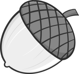 Acorn Cartoon Illustrations In Gray Color