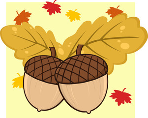 Two Acorn With Oak Leaves Cartoon Illustrations With Background