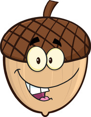 Smiling Acorn Cartoon Cartoon Mascot Character