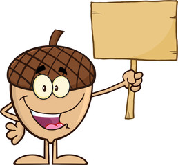 Smiling Acorn Cartoon Mascot Character Holding A Wooden Board