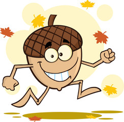 Happy Acorn Character Running With Fall Leaves Background