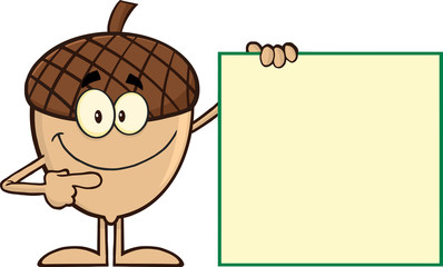Smiling Acorn Cartoon Mascot Character Showing A Blank Sign