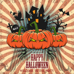 HALLOWEEN VECTOR FESTIVE BACKGROUND WITH PUMPKIN