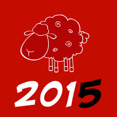 Happy New Year Of The Sheep 2015 Design Card With Black Number