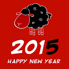 Happy New Year 2015 Design Card With Black Sheep