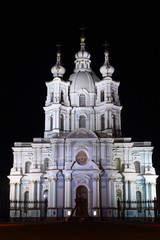 Освещение Смольного собора в Санкт-Петербурге
