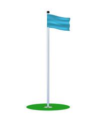 Golf hole with blue flag