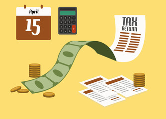 Tax return concept. flat design. vector illustration