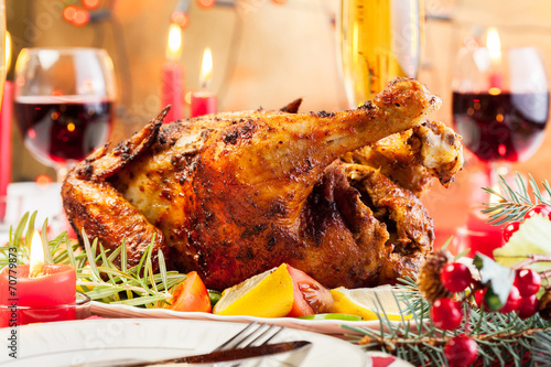 canvas print picture Baked chicken for Christmas dinner