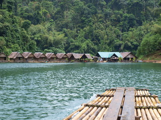 The bungalow and the raft on Chiew Lan lake, Thailand