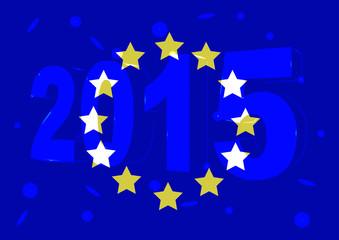 Новый 2015 год на фоне флага Евросоюза