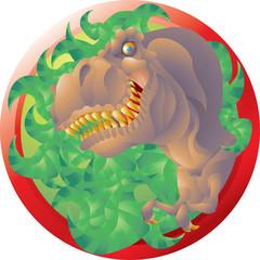 T rex bust emblem