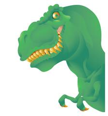 Green T rex bust