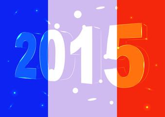 Новый 2015 год на фоне флага Франции
