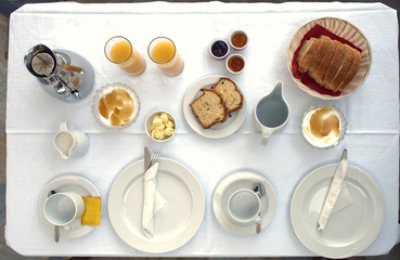 table served, breakfast for two