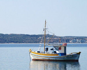 "Milos island Greece, traditional fishing boat ""kaiki"""