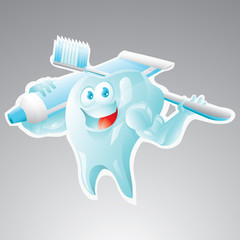 Strong tooth with toothbrush and toothpaste