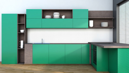 Kitchen in green