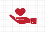 Pictograph hand and heart poster
