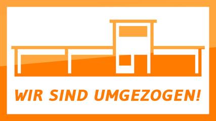 fs5 FactorySign - Wir sind umgezogen - orange g1816 - 16 zu 9