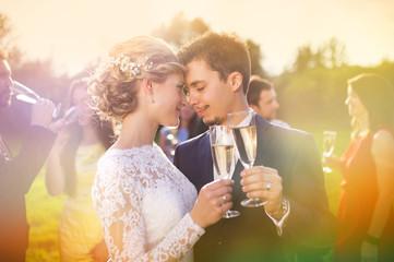 Newlyweds clinking glasses outside
