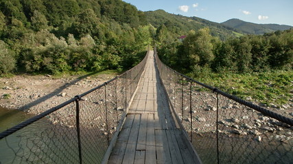 Rope bridge Carpathian Mountains, Ukraine