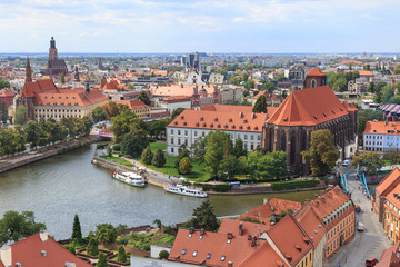 Wroclaw, view from cathedral tower towards Odra Sand Islands