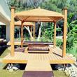 wood pavilion for massage in tropical garden on summer resort