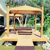 wood pavilion for massage in tropical garden on summer resort
