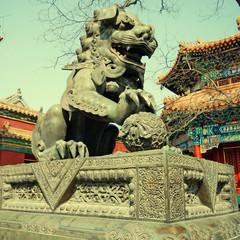 bronze lion in Lama Temple (Beijing, China)