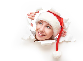 happy woman christmas  peeking through hole torn  paper poster