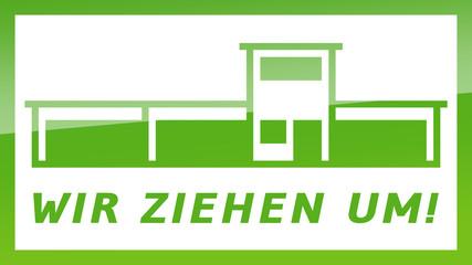 fs8 FactorySign - Wir ziehen um - grün g1819 - 16 zu 9