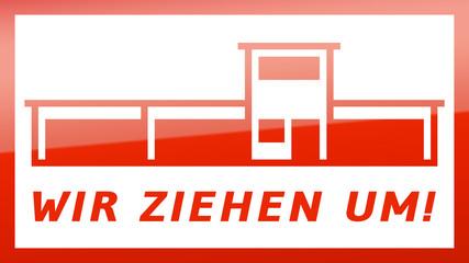 fs9 FactorySign - Wir ziehen um - rot g1820 - 16 zu 9