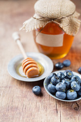 Honey with blueberries